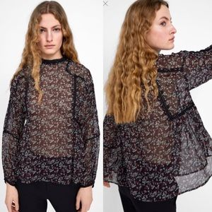 New Zara Floral Multicolored Print Blouse size M